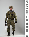 Full-length image of soldier with gun in his hand 38661656