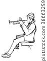 Sketch of a trumpet player 38663259