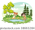 Two children play with a boat by al lake 38663284