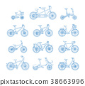 Big flat graphic design set of different bicycles. 38663996