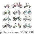 Big flat graphic design set of different bicycles. 38663998