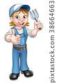 gardener, cartoon, woman 38664663