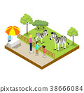 Cage with zebras isometric 3D icon 38666084