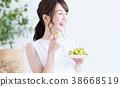 여성, 과일, 실내 38668519