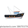 Fishing boat isolated on white icon 38670379