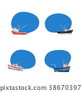 Vintage fishing boats isolated icons set 38670397