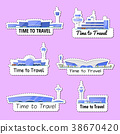 Time to travel isolated labels set 38670420