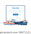 Sailing poster with group of fishing boats 38671121
