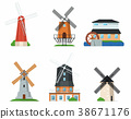 Traditional old windmill buildings on white set 38671176