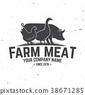 Farm Meat Badge or Label. Vector illustration. 38671285
