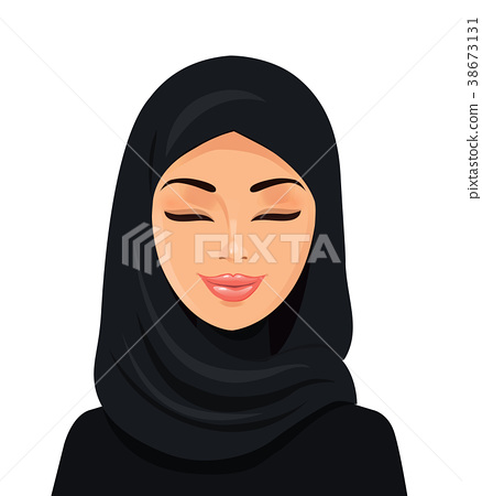 arab woman in hijab closing her eyes vector  38673131