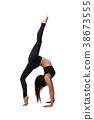 Brunette in sportswear doing fitness isolated shot 38673555