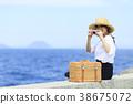 여성 여행 바다 38675072
