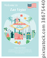 Welcome to Las Vegas Poster with landmarks 38675440