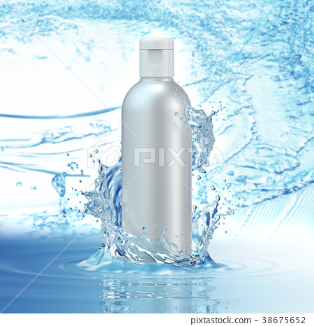 White cosmetic products with water splash on cyan 38675652