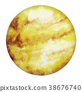 Planet Venus Isolated Yellow Watercolor Stain 38676740