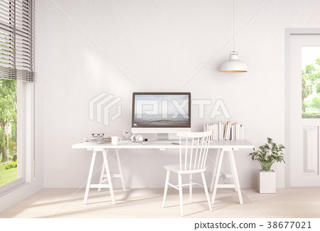 Interior room working area and computer. 3d render 38677021
