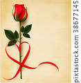 Valentine's day background with heart shaped ribon 38677145