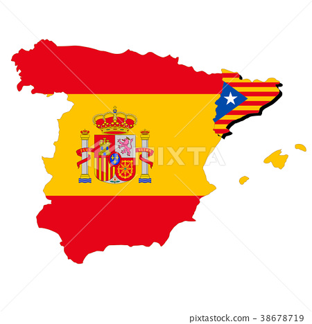 Map Of Spain Catalonia.Spain And Catalonia Map And Flag Stock Illustration 38678719 Pixta