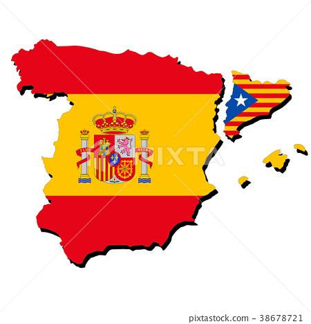 西班牙和加泰羅尼亞地圖和國旗 38678721