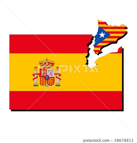 西班牙和加泰羅尼亞旗幟 38678811