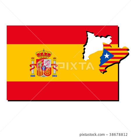 西班牙和加泰羅尼亞旗幟 38678812