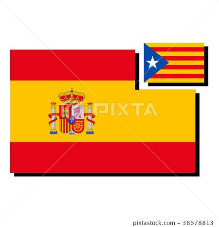 西班牙和加泰羅尼亞旗幟 38678813