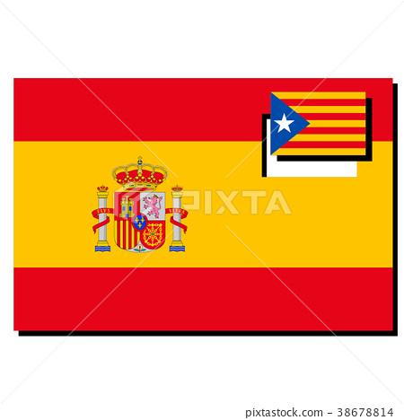 西班牙和加泰羅尼亞旗幟 38678814