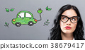 Electric Vehicle with young businesswoman 38679417