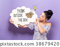 Think Outside The Box with woman holding a speech 38679420