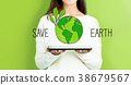 Save Earth with woman holding a tablet 38679567