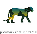 Silhouette of lioness on the hill landscape 38679710