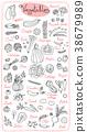 Set drawings of vegetables for design menus 38679989