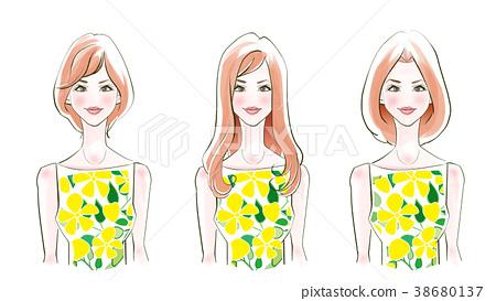 頭髮目錄黃色夏天的衣服 38680137