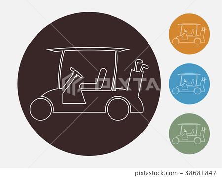 Line Design of Golf cart or golf car icon vector 38681847