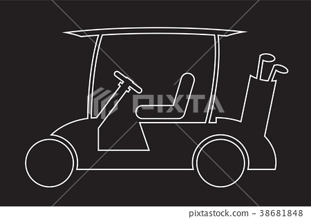 Line Design of Golf cart or golf car icon vector 38681848