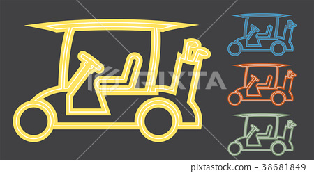 Line Design of Golf cart or golf car icon vector 38681849