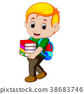 Cartoon boy holding a pile of books with backpack 38683746