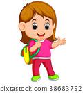 School girl cartoon walking 38683752