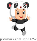 Cute boy cartoon wearing panda costume 38683757