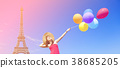 girl with colorful balloons and Eiffel tower 38685205