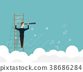 businessman standing on ladder and use telescope 38686284