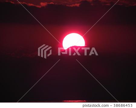 鑽石富士 日落 夕陽 38686453