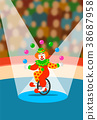 Circus clown juggling balls on unicycle on arena 38687958