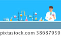 Chemist in chemical laboratory vector background 38687959