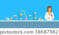 Chemist in chemical laboratory vector background 38687962