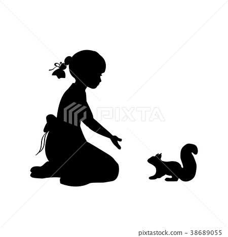 Silhouette girl sitting knees beckon squirrel 38689055