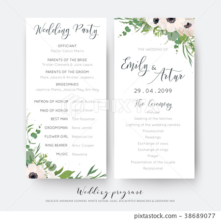 Wedding Ceremony And Party Program Card Design Stock