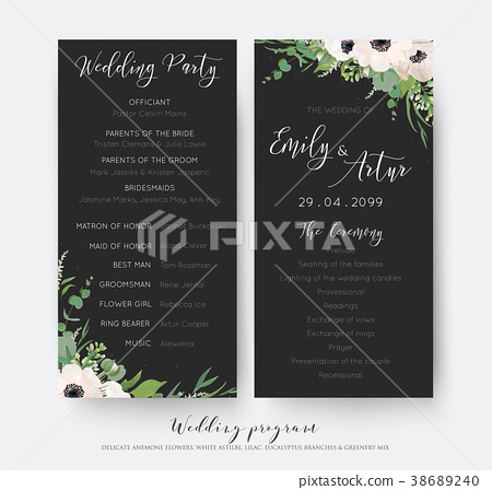 Wedding Ceremony And Party Program Card Design Stock Illustration