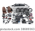 Car body disassembled and many vehicles parts 38689363